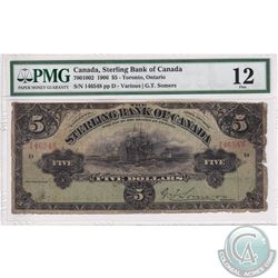 700-10-02 1906 Sterling Bank of Canada $5, Various-Somers, S/N:146548. PMG F-12. Note has been trimm