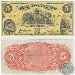 715-24-04 1937 Bank of Toronto $5, Henwood-Lamb, S/N: 294169. Note is VF-EF Condition.