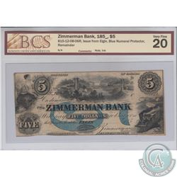 815-12-08-06R 185_ Zimmerman Bank Remainder $5, Issue from Elgin, Blue Numeral Protector. BCS Certif