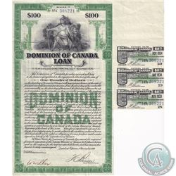 1934 $100 Dominion of Canada Loan 15 Years 5.5% Gold Bond Certificate. Includes 3 uncut coupons for