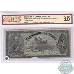 DC-14b 1897 Dominion of Canada $2, Various-Courtney, Dark Brown Back, Series B. S/N:566359/D. BCS Ce