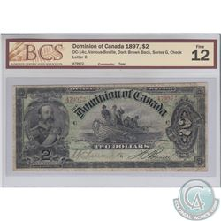 DC-14c 1897 Dominion of Canada $2, Various-Bouville, Dark Brown Back, Series G, S/N: 479972/C. BCS C