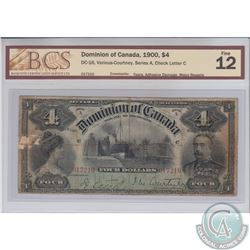 DC-16 1900 Dominion of Canada $4, Various-Courtney, Series A. S/N: 017210/C. BCS Certified F-12. Tea