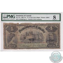 "DC-17a 1904 Dominion of Canada $4. Various-Courtney, S/N: 012932/A. ""4"" at Top Left and Right-Printe"