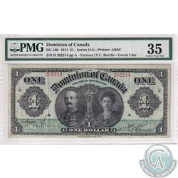 DC-18b 1911 Dominion of Canada $1, Various-Bouville. S/N: 202214/D, Green Line. PMG Certified Choice