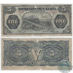 DC-21a 1912 Dominion of Canada $5 'Train Note', Various-Bouville, S/N: 770997/A. Note is in Good Qua