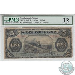 DC-21b 1912 Dominion of Canada $5, No Seal, 'Train Note', Various-Boville, S/N: 392946/B. PMG F-12.