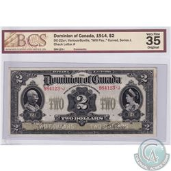 """DC-22a-i 1914 Dominion of Canada $2, Various-Boville, """"will Pay."""" Curved, Series J, S/N: 984123-J. P"""