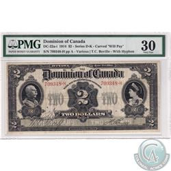 """DC-22a-i 1914 Dominion of Canada $2, Various-Boville, """"will Pay."""" Curved, Series D-K. S/N: 709348-H."""