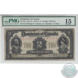 DC-22c 1914 Dominion of Canada $2, Various-Saunders, S/N: 114276/N. PMG Choice F-15.
