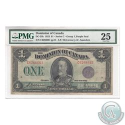 DC-25k 1923 Dominion of Canada $1, McCavour-Saunders, Purple Seal, Group 1, Series C, S/N: 6266661,