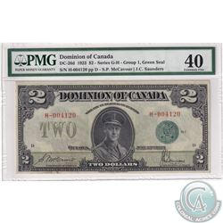 DC-26d 1923 Dominion of Canada $2, Green Seal, Group 1, Series G-H. McCavour-Saunders, S/N: 004120/D