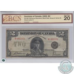 DC-26f 1923 Dominion of Canada $2, Black Seal, Group 2, McCavour-Saunders, S/N: 902353/M. BCS VF-20.