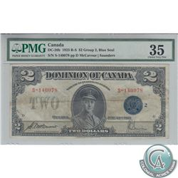 DC-26h 1923 Dominion of Canada $2, McCavour-Saunders, Blue Seal, Group 2, Series S, S/N: S-140078/D,
