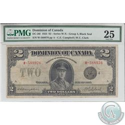 DC-26I 1923 Dominion of Canada $2, Black Seal, Group 4, Campbell-Clark, S/N: 588976/W. PMG VF-25.