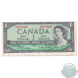 BC-37b 1954 $1 Beattie-Rasminsky, S/N: S/P5673997. 'Cut of Register' Note is showing a small portion