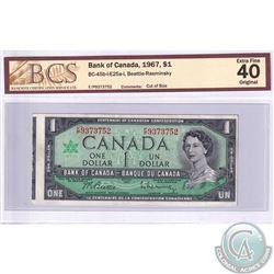 """Error, BC-45b-i-E25a-i 1967 $1 Beattie-Rasminsky, S/N: F/P9373752. BCS Certified EF-40 Original """"Cut"""