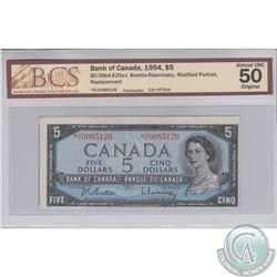 BC-39bA-E25a-i 1954 Replacement $5 Beattie-Rasminsky, S/N: *R/C0085126. BCS Certified AU-50 Original
