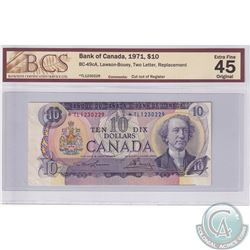 """BC-49cA, 1971 Replacement $10, Lawson-Boey, S/N: *TL1230229 BCS Certified EF-45 Original. """"Cut out o"""