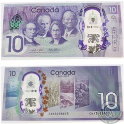 1867-2017 Canada $10 Banknote, BC-75. This error note has two different font sizes on the Serial num