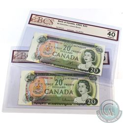 """BC-50a-E25a-i 1969 $20, S/N: EY9708128 VF-30 & WA7924123 EF-40. Both BCS Certified """"Cut off Size"""". 2"""
