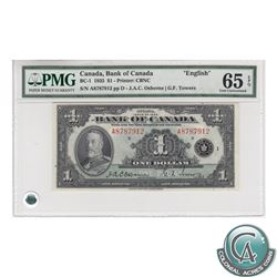 BC-1 1935 Bank of Canada English $1, Osborne-Towers, Series A, S/N: A8787912/D, PMG GUNC-65, EPQ.