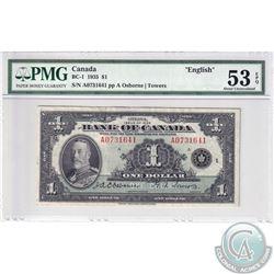 BC-1 1935 Bank of Canada English $1, Osborne-Towers, S/N: 0731641/A. BCS certified AU-53 EPQ