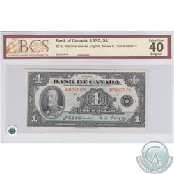 BC-1 1935 Bank of Canada $1, English, Osborne-Towers, S/N:2083978/B. BCS EF-40 Original