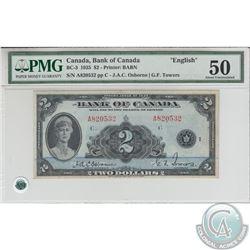 BC-3 1935 Bank of Canada $2,English, Osborne-Towers, S/N: 820532/A. PMG AU-50.