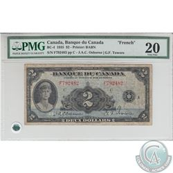 BC-4 1935 Bank of Canada $2, French, Osborne-Towers, S/N:792482/F. PMG VF-20.