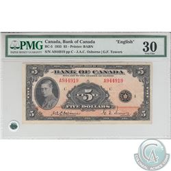 BC-5 1935 Bank of Canada $5, English, Osborne-Towers, S/N: 944919/A. PMG VF-30.