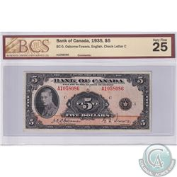 BC-5, 1935 Bank of Canada English $5, Osborne-Towers, S/N: 1058086/C. BCS certified VF-25.