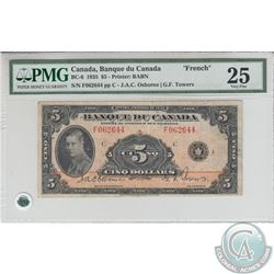 BC-6 1935 Bank of Canada $5, French, Osborne-Towers, S/N: 062644/F. PMG VF-25.