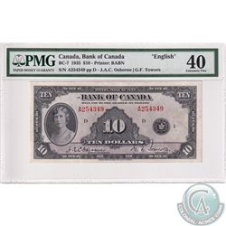 BC-7, 1935 Bank of Canada $10, Osborne-Towers, S/N: 254349/D. PMG Certified EF-40!