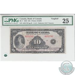 BC-7 1935 Bank of Canada $10, English, Osborne-Towers, S/N: 251742/A. PMG VF-25.