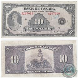 BC-7 1935 Bank of Canada $10, English, Osborne-Towers, S/N: 207019/A. Note is in VF Condition with m