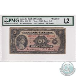 BC-9a 1935 Bank of Canada English $20, Large Seal, Osborne-Towers, S/N: 002887/C. PMG Certified F-12
