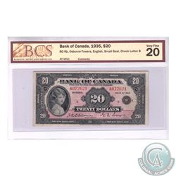 BC-9b 1935 Bank of Canada English $20, Small Seal, Osborne-Towers, Series A, S/N: A072621/B. BCS VF-