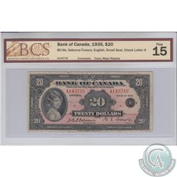BC-9b 1935 Bank of Canada English $20, Small Seal, Osborne-Towers, Series A, S/N: A143716/A. BCS F-1