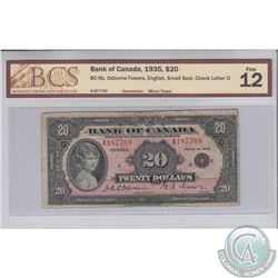 BC-9b 1935 Bank of Canada English $20, Small Seal, check letter D, S/N: A187769. BCS Certified F-12.