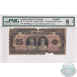 BC-11 1935 Bank of Canada English $25,Osborne-Towers, S/N: 015246/A, PMG Certified VG-8 (Net) Paper