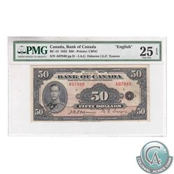 BC-13 1935 Bank of Canada English $50, Osborne-Towers, Series A. S/N:A07940/D. PMG VF-25 EPQ.
