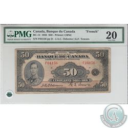 BC-14 1935 Bank of Canada $50, French, Osborne-Towers, S/N: 04156/F. PMG VF-20. *Rare Note*
