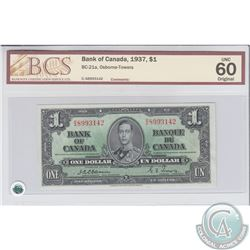 BC-21a 1937 Bank of Canada $1, Osborne-Towers, S/N: C/A8993142. BCS UNC-60 Original