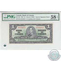 BC-21b 1937 Bank of Canada $1, Narrow Pannel, Gordon-Towers, S/N: H/A8134317. PMG Choice AU-58 EPQ