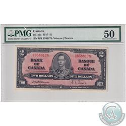 BC-22a 1937 Bank of Canada $2, Osborne-Towers, S/N: B/B6588178, PMG Certified AU-50