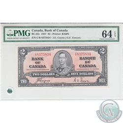 BC-22c 1937 Bank of Canada $2, Coyne-Towers, S/N: C/R8375834. PMG CUNC-64 EPQ