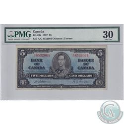 BC-23a 1937 Bank of Canada $5, Osborne-Towers S/N: A/C8532064, PMG Certified VF-30.