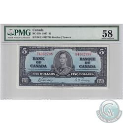 BC-23b 1937 Bank of Canada $5, Gordon-Towers, S/N: K/C4362798, PMG Certified Choice AU-58.