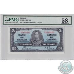 BC-23c 1937 Bank of Canada $5, Coyne-Towers, S/N: E/S5149430, PMG Certified Choice AU-58